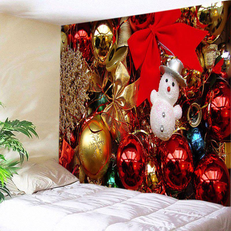 Christmas Baubles Bowknots Print Tapestry Wall Hanging Art DecorationHOME<br><br>Size: W91 INCH * L71 INCH; Color: COLORMIX; Style: Festival; Theme: Christmas; Material: Polyester; Feature: Washable; Shape/Pattern: Ball,Bowknot; Weight: 0.4000kg; Package Contents: 1 x Tapestry;