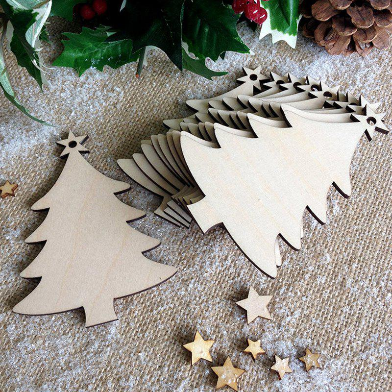 10 Pcs Christmas Tree Decorations Wooden TreesHOME<br><br>Color: PALOMINO; Event &amp; Party Item Type: Party Decoration; Occasion: Christmas; Material: Wooden; Weight: 0.0870kg; Package Contents: 10 x Wooden Trees (Pcs);