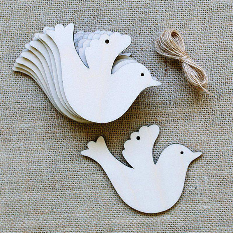 10 Pcs Christmas Tree Decorations Wooden BirdsHOME<br><br>Color: PALOMINO; Event &amp; Party Item Type: Party Decoration; Occasion: Christmas; Material: Wooden; Weight: 0.1000kg; Package Contents: 10 x Wooden Birds (Pcs);