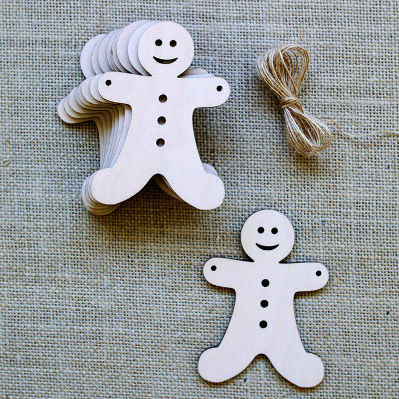 10 Pcs Christmas Tree Decorations Wooden Biscuit ManHOME<br><br>Color: PALOMINO; Event &amp; Party Item Type: Party Decoration; Occasion: Christmas; Material: Wooden; Weight: 0.1000kg; Package Contents: 10 x Wooden Biscuit Men (Pcs);