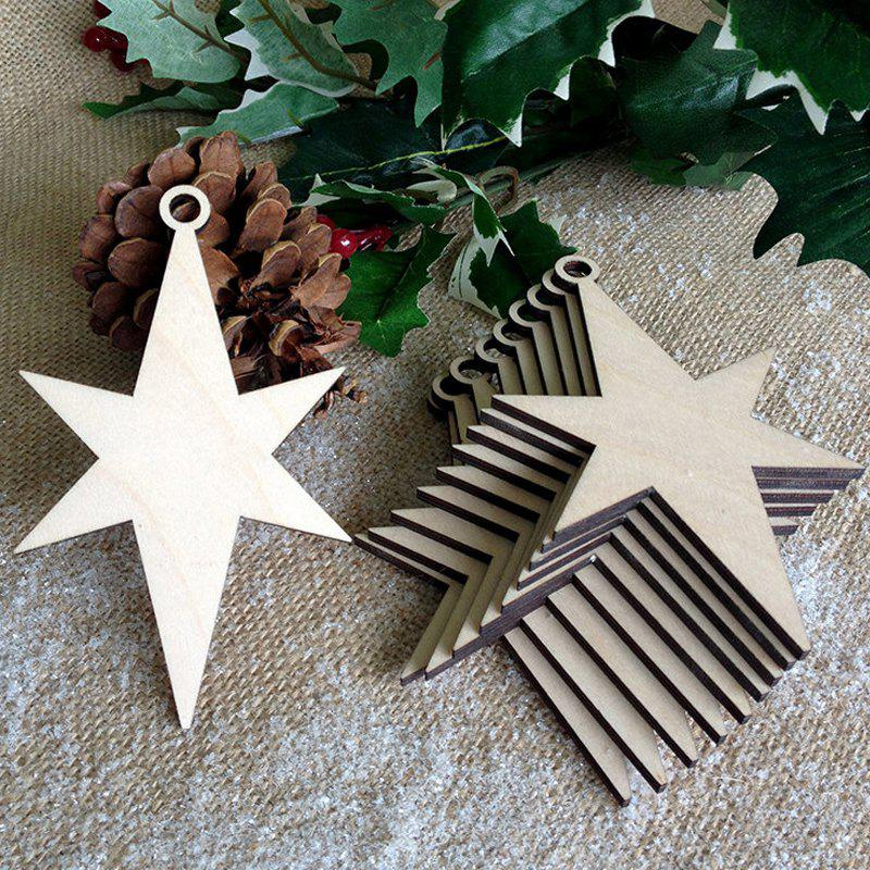 10 Pcs Christmas Tree Decorations Wooden StarsHOME<br><br>Color: PALOMINO; Event &amp; Party Item Type: Party Decoration; Occasion: Christmas; Material: Wooden; Weight: 0.1000kg; Package Contents: 10 x Wooden Stars (Pcs);