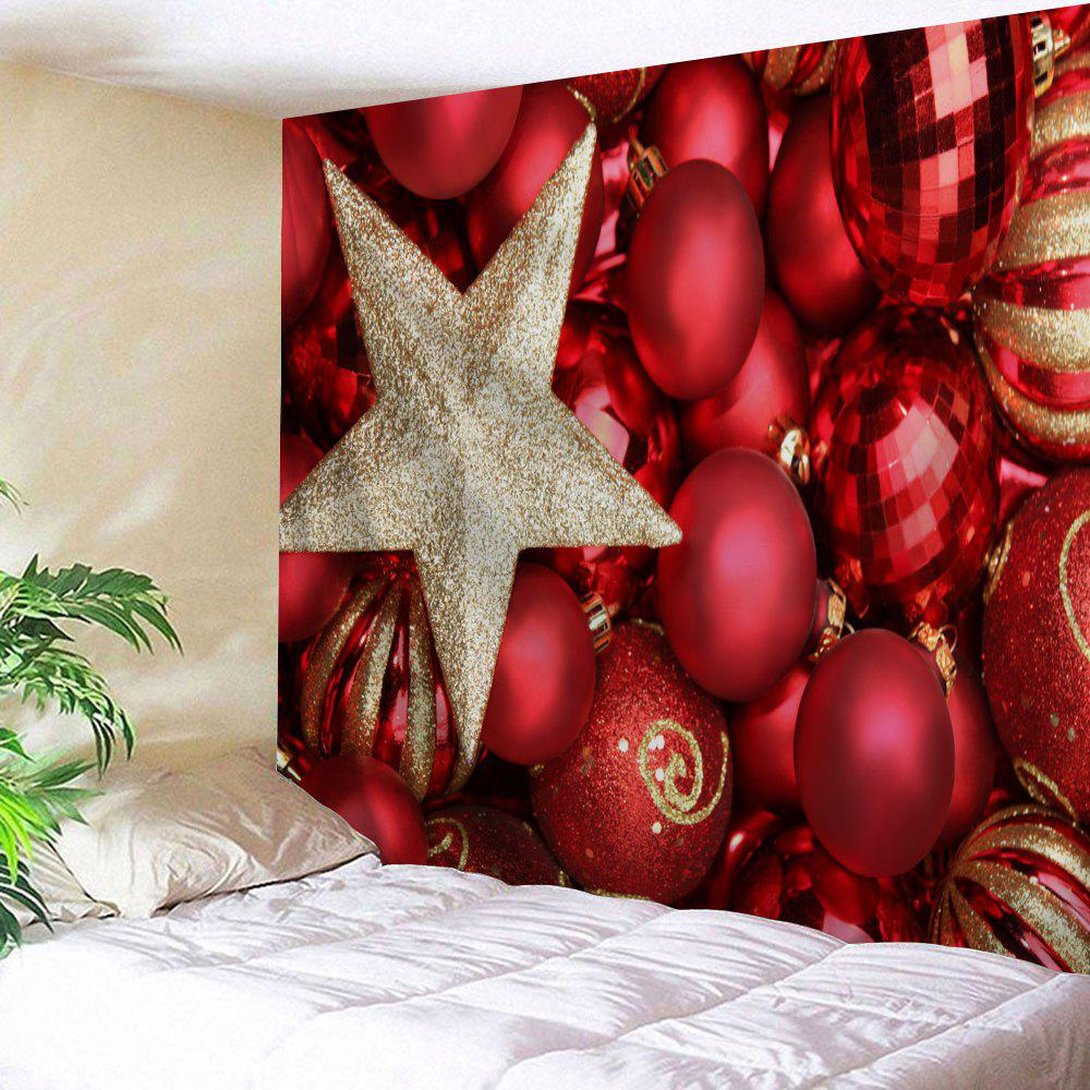 Christmas Ball Print Wall Hanging Decorative TapestryHOME<br><br>Size: W91 INCH * L71 INCH; Color: RED; Style: Festival; Theme: Christmas; Material: Polyester; Feature: Removable,Washable; Shape/Pattern: Ball,Star; Weight: 0.3800kg; Package Contents: 1 x Tapestry;