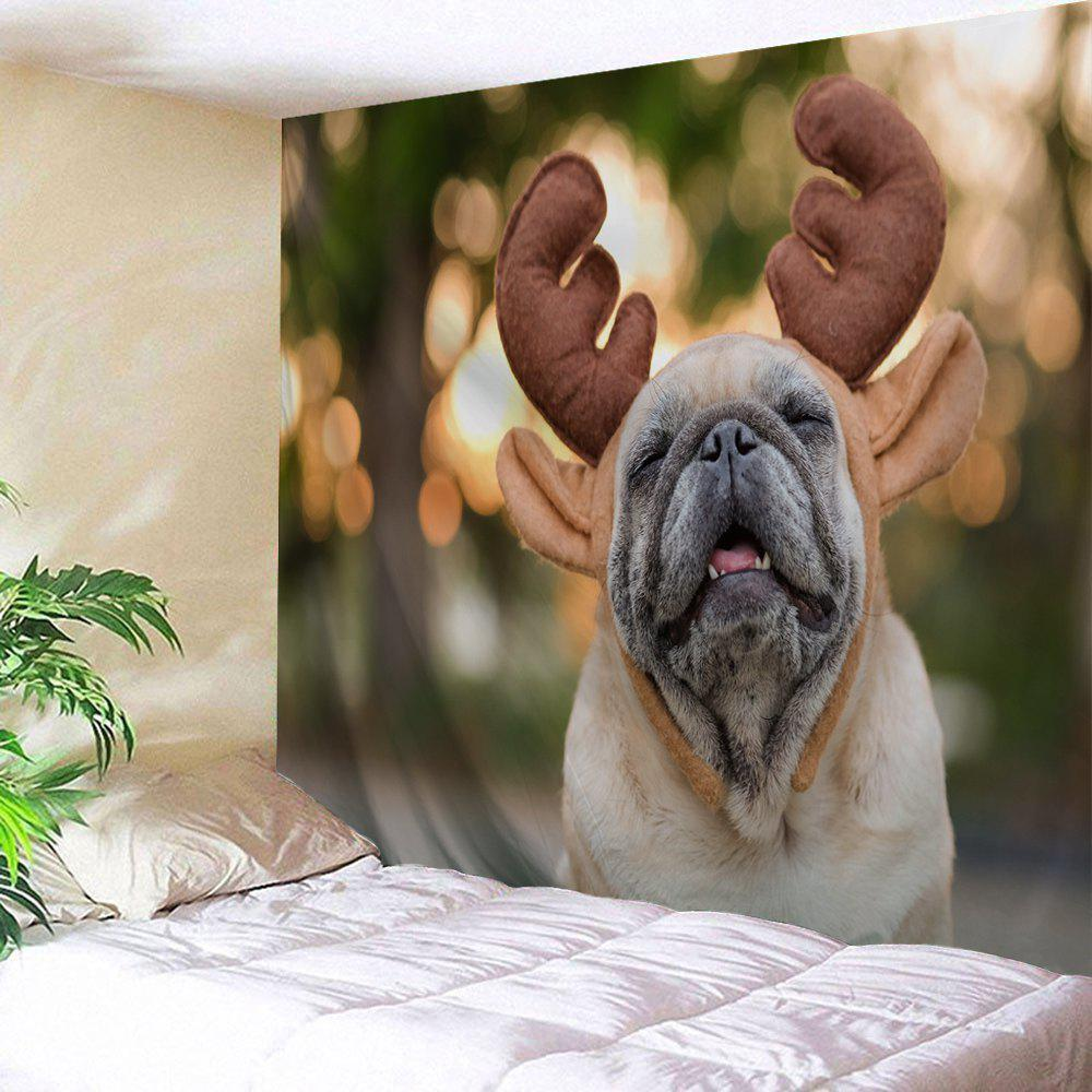Outfit Wall Hanging Christmas Antler Pug Printed Tapestry