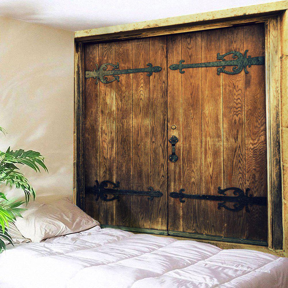 Wall Hanging Nostalgic Wooden Door Printed TapestryHOME<br><br>Size: W79 INCH * L71 INCH; Color: BROWN; Style: Vintage; Material: Polyester; Feature: Removable,Washable; Shape/Pattern: Door,Wood; Weight: 0.3000kg; Package Contents: 1 x Tapestry;