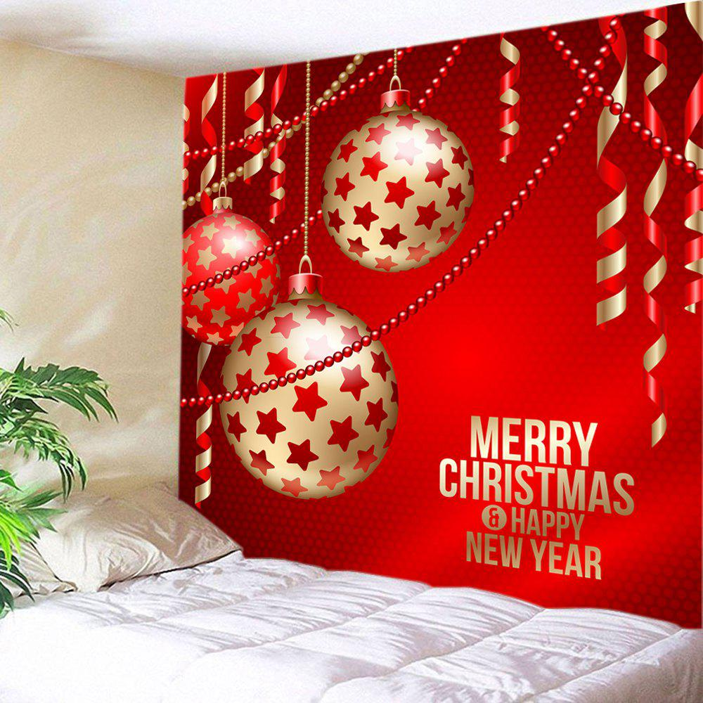 Christmas Baubles Ribbon Print Tapestry Wall Hanging Art DecorationHOME<br><br>Size: W79 INCH * L59 INCH; Color: RED; Style: Festival; Theme: Christmas; Material: Polyester; Feature: Washable; Shape/Pattern: Ball; Weight: 0.3750kg; Package Contents: 1 x Tapestry;