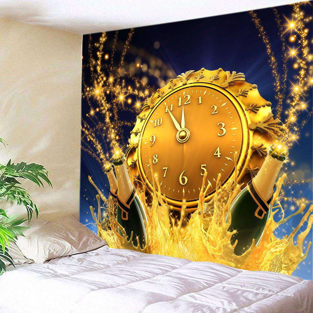Christmas Clock Beer Print Tapestry Wall Hanging Art DecorationHOME<br><br>Size: W59 INCH * L51 INCH; Color: CITRUS; Style: Festival; Theme: Christmas; Material: Polyester; Feature: Washable; Shape/Pattern: Print; Weight: 0.3750kg; Package Contents: 1 x Tapestry;