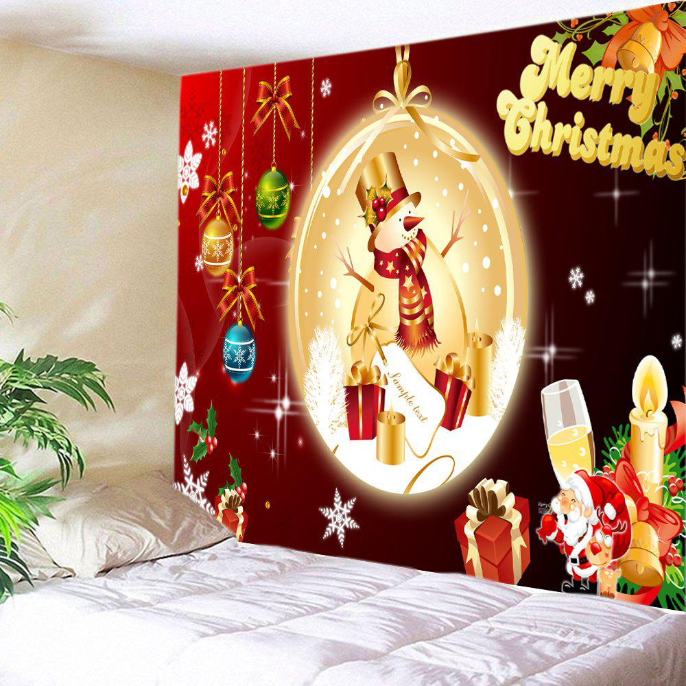 Christmas Baubles Snowman Print Tapestry Wall Hanging Art DecorationHOME<br><br>Size: W91 INCH * L71 INCH; Color: COLORMIX; Style: Festival; Theme: Christmas; Material: Polyester; Feature: Washable; Shape/Pattern: Ball,Gift,Letter; Weight: 0.4000kg; Package Contents: 1 x Tapestry;