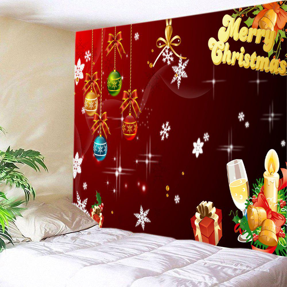 Christmas Baubles Letters Print Tapestry Wall Hanging Art DecorationHOME<br><br>Size: W91 INCH * L71 INCH; Color: COLORMIX; Style: Festival; Theme: Christmas; Material: Polyester; Feature: Washable; Shape/Pattern: Ball,Gift,Letter; Weight: 0.4000kg; Package Contents: 1 x Tapestry;