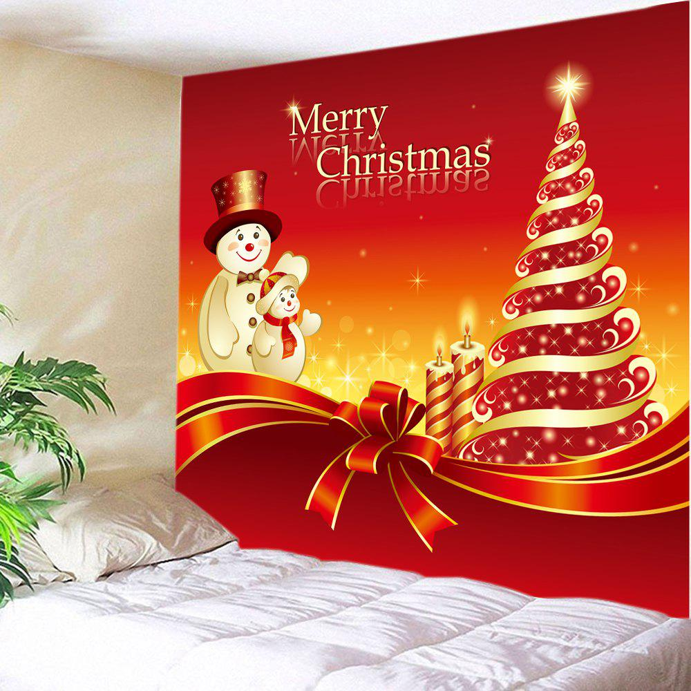 Red W59 Inch L59 Inch Christmas Tree Snowmen Print Tapestry Wall