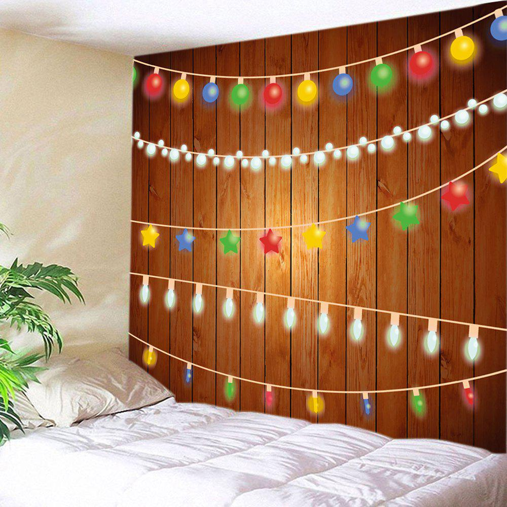 Christmas String Lights Print Tapestry Wall Hanging DecorationHOME<br><br>Size: W91 INCH * L71 INCH; Color: COLORMIX; Style: Festival; Theme: Christmas; Material: Polyester; Feature: Washable; Shape/Pattern: Wood; Weight: 0.4000kg; Package Contents: 1 x Tapestry;