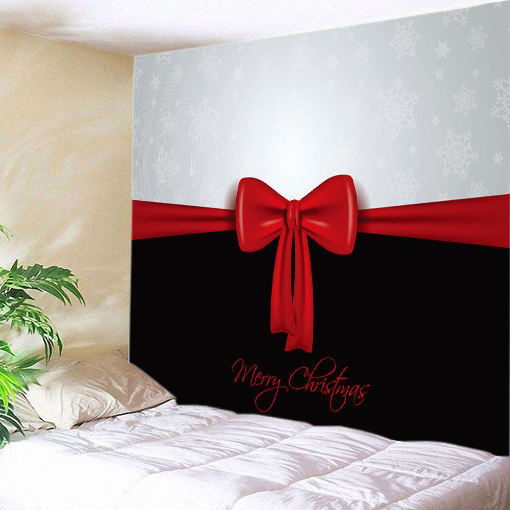 Merry Christmas Bowknot Print Tapestry Wall Hanging Art DecorationHOME<br><br>Size: W59 INCH * L51 INCH; Color: COLORMIX; Style: Festival; Theme: Christmas; Material: Polyester; Feature: Washable; Shape/Pattern: Bowknot,Letter; Weight: 0.3750kg; Package Contents: 1 x Tapestry;