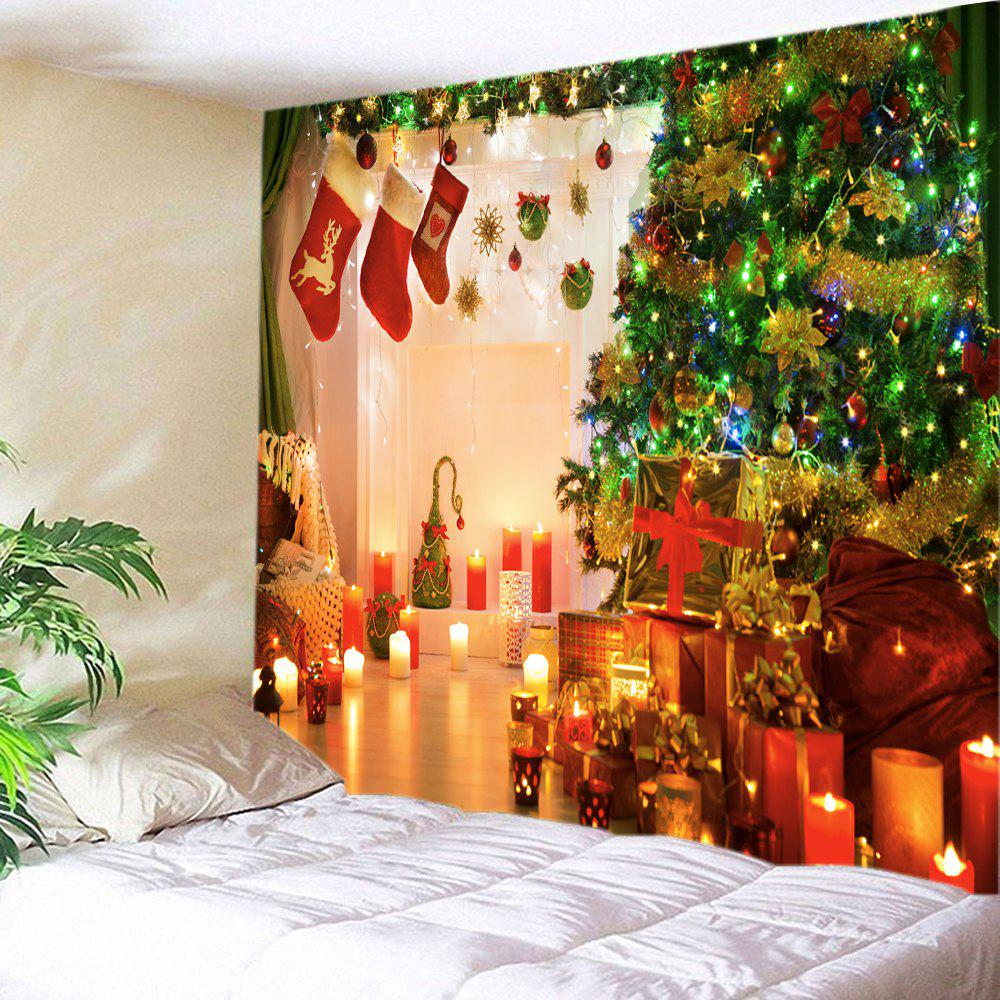 Christmas Tree Gift Stockings Print Tapestry Wall Hanging Art DecorationHOME<br><br>Size: W59 INCH * L51 INCH; Color: COLORMIX; Style: Festival; Theme: Christmas; Material: Polyester; Feature: Washable; Shape/Pattern: Gift,Tree; Weight: 0.3750kg; Package Contents: 1 x Tapestry;