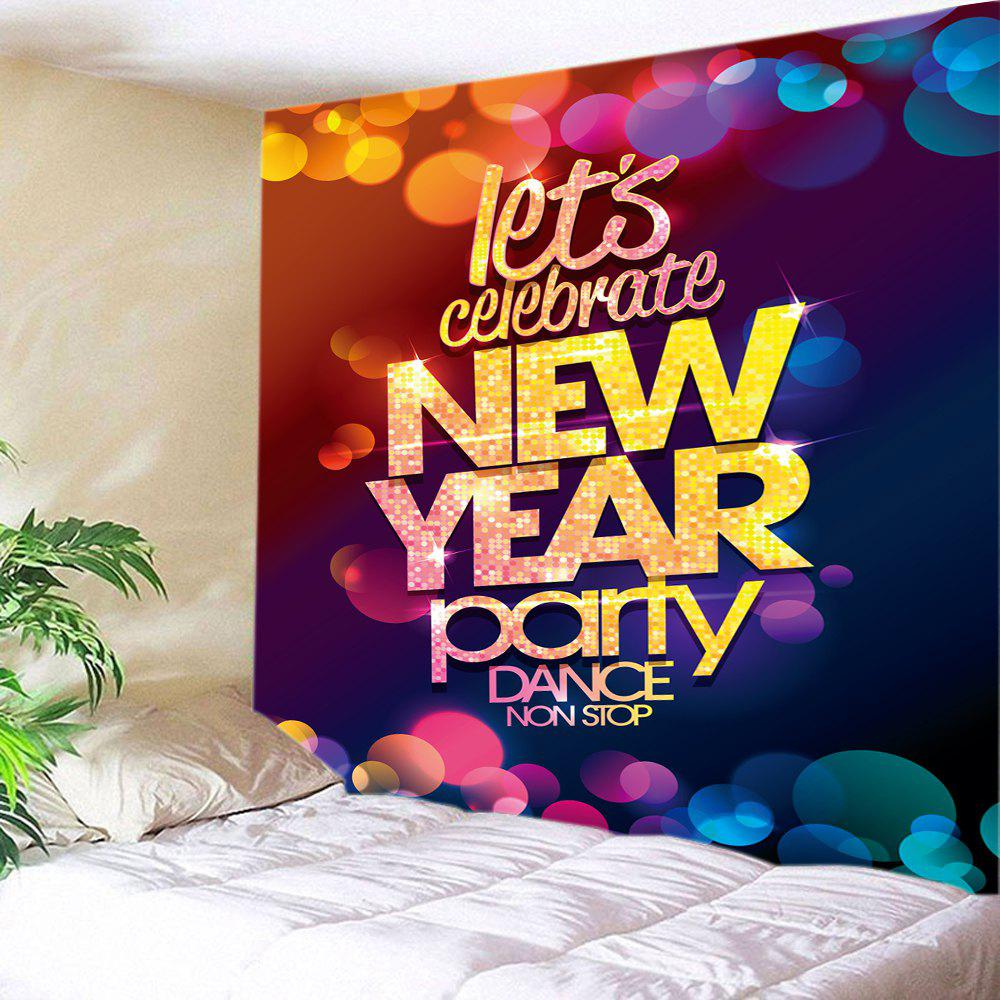 New Year Party Print Tapestry Wall Hanging Art DecorationHOME<br><br>Size: W91 INCH * L71 INCH; Color: COLORMIX; Style: Festival; Theme: Christmas; Material: Polyester; Feature: Washable; Shape/Pattern: Letter; Weight: 0.4000kg; Package Contents: 1 x Tapestry;