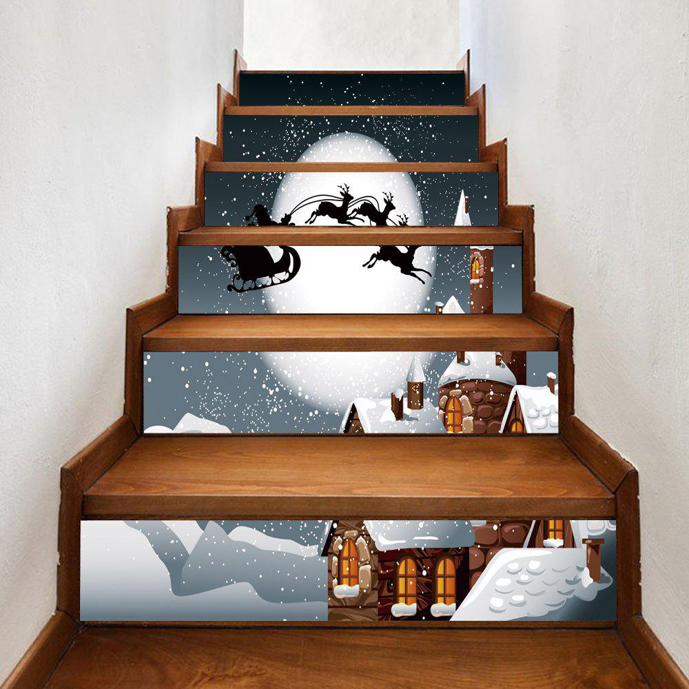 Christmas Night Castle Pattern Decorative Stair StickersHOME<br><br>Size: 100*18CM*6PCS; Color: COLORMIX; Wall Sticker Type: Plane Wall Stickers; Functions: Stair Stickers; Theme: Christmas; Pattern Type: Moon; Material: PVC; Feature: Removable; Weight: 0.3600kg; Package Contents: 1 x Stair Stickers;