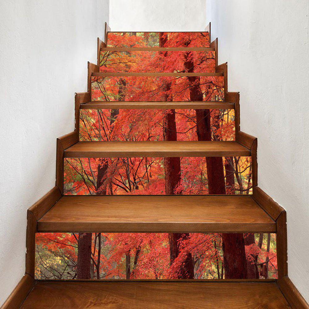 Maple Forest Pattern Decorative Stair StickersHOME<br><br>Size: 100*18CM*6PCS; Color: ORANGE; Wall Sticker Type: Plane Wall Stickers; Functions: Stair Stickers; Theme: Landscape; Pattern Type: Forest; Material: PVC; Feature: Removable; Weight: 0.3500kg; Package Contents: 1 x Stair Stickers;