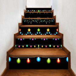 Christmas Fairy Lights Pattern Decorative Stair Stickers - 100*18cm*6pcs