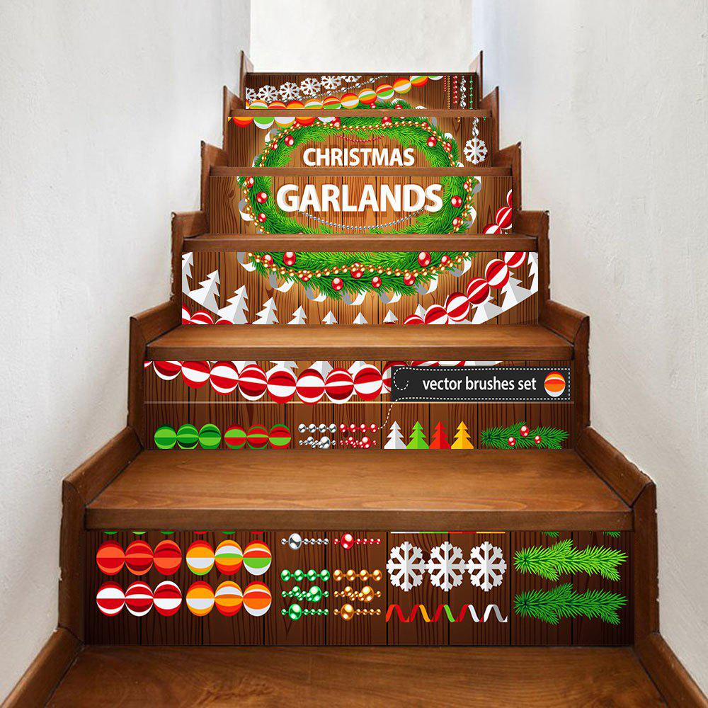 Outfits Christmas Garlands Pattern Decorative Stair Stickers