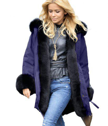 Cheap Fur Edge Button Up Long Parka