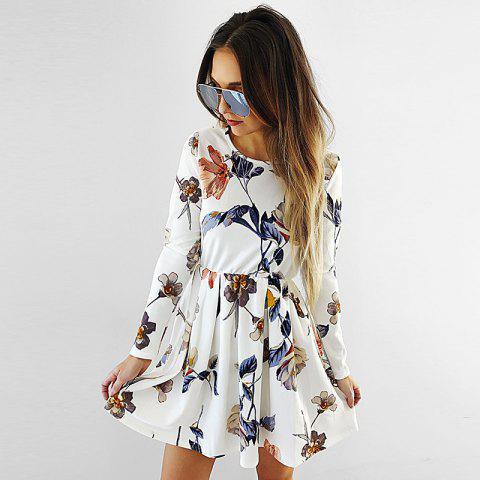 Discount Flower Printed Long Sleeve Skater Dress