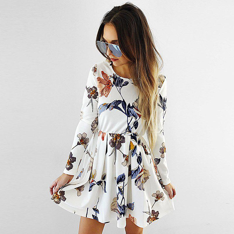 Chic Flower Printed Long Sleeve Skater Dress
