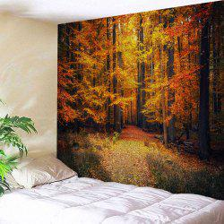 Maple Forest Path Print Tapestry Wall Hanging Art Decoration - Gold Brown - W91 Inch * L71 Inch