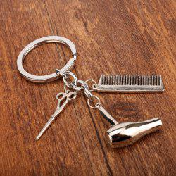 Hair Dryer Comb Scissor Style Alloy Key Chain -