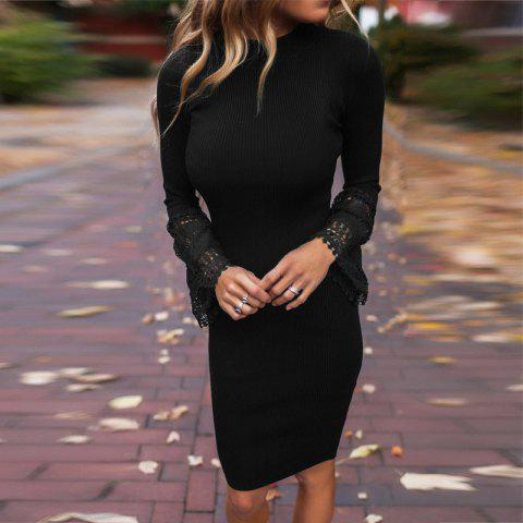 Lace Panel Knitted Bodycon Dress