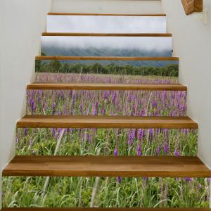 Mountains Lavender Pattern Decorative Stair Stickers -