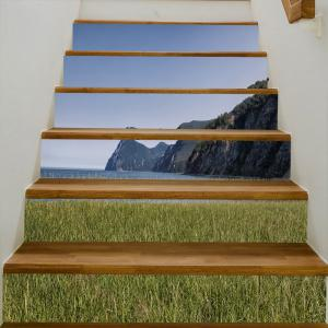 Seaside Mountains Pattern Decorative Stair Stickers -