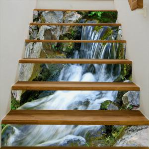 Stone Waterfall Pattern Decorative Stair Stickers -