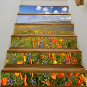 Sea of Flowers Pattern Decorative Stair Stickers -