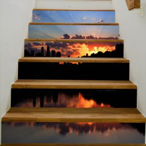 Stickers d'escalier décoratif Waterside Sunset Pattern -