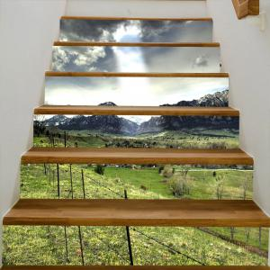 Mountains Village Pattern Decorative Stair Stickers -