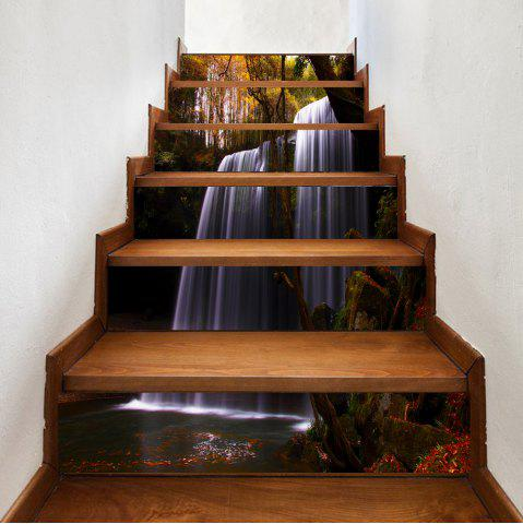 Outfit Forest Waterfall Pattern Decorative Stair Stickers