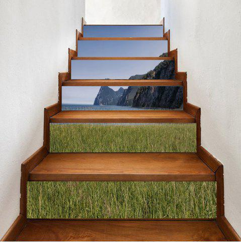 Unique Seaside Mountains Pattern Decorative Stair Stickers