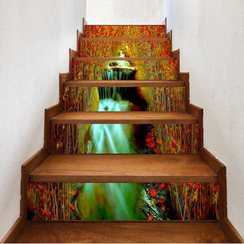 Chic Flowers Waterfall Pattern Decorative Stair Stickers