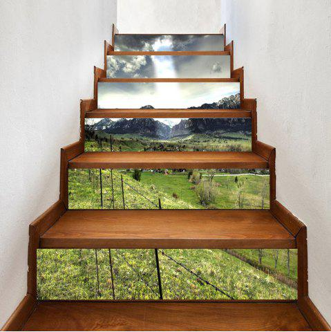 Fancy Mountains Village Pattern Decorative Stair Stickers