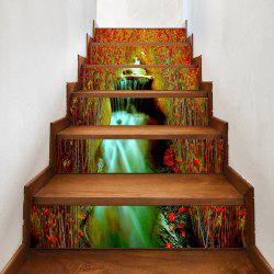 Flowers Waterfall Pattern Decorative Stair Stickers -