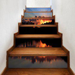 Waterside Sunset Pattern Decorative Stair Stickers -