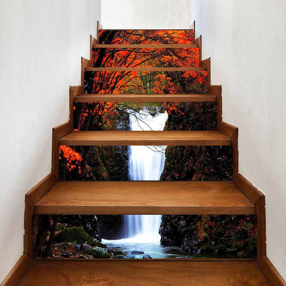 Sale Maple Forest Waterfall Pattern Decorative Stair Stickers