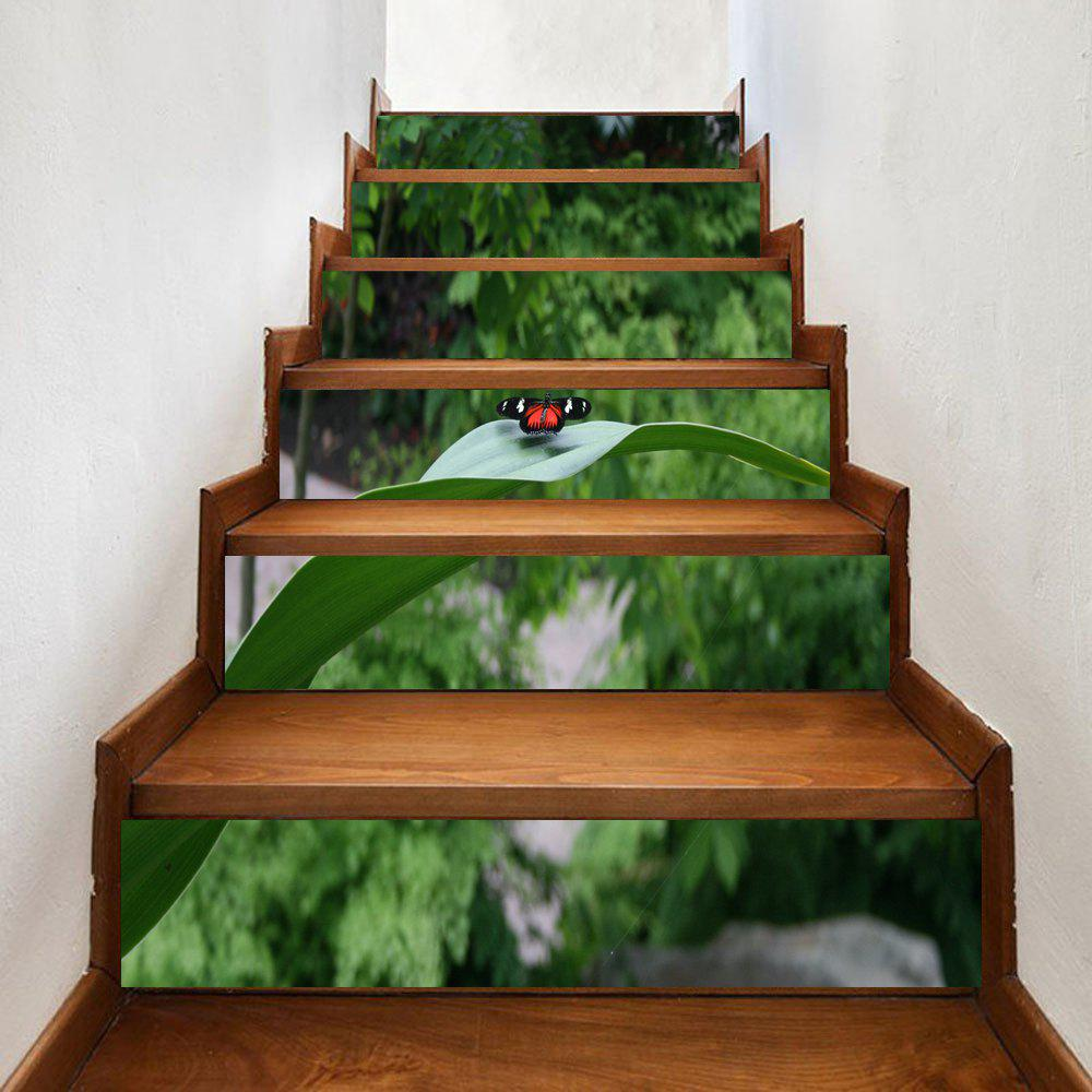 Shop Butterfly On The Leaf Pattern Decorative Stair Stickers