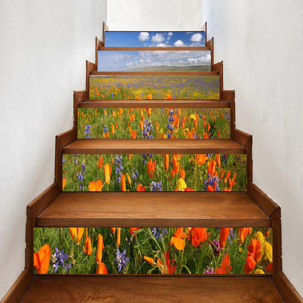 Trendy Sea of Flowers Pattern Decorative Stair Stickers