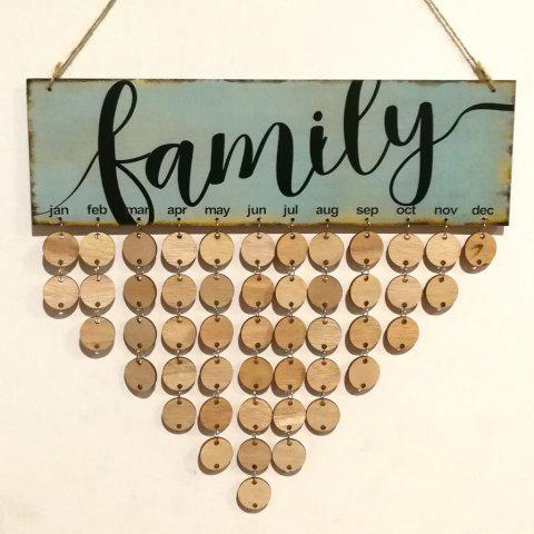 Trendy diy wooden family birthday calendar board wall hanging