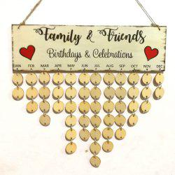 Family And Friends DIY Wooden Birthday Calendar Board -