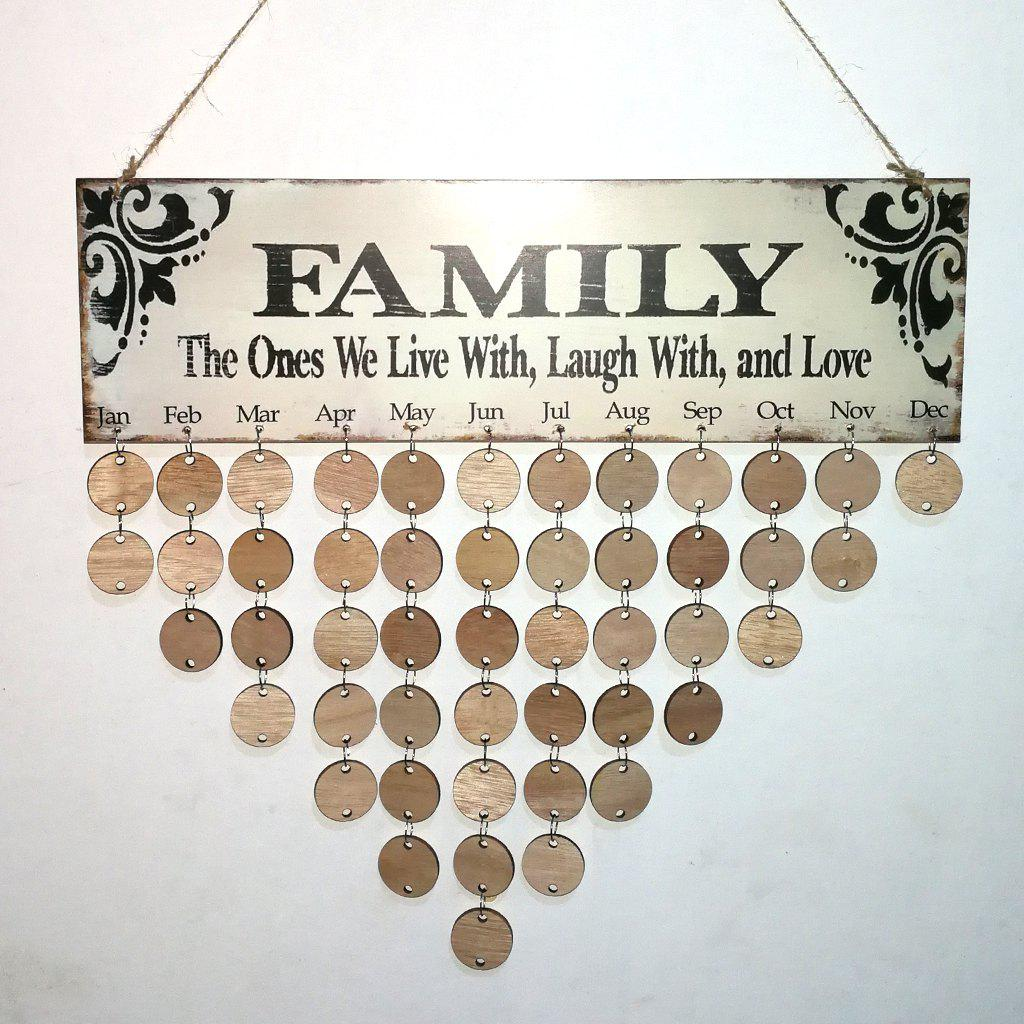 Unique DIY Wooden Family Birthday Calendar Board Wall Hanging