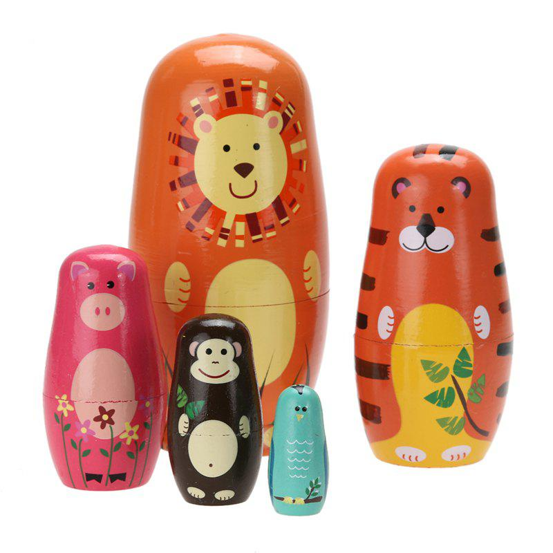 Unique WUIBN Russian Nesting Matryoshka Dolls Wooden Hand Crafts Animal Painting Toy for Kids 5pcs