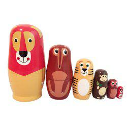 WUIBN six couches Animal modèle russe nidification Matryoshka poupée cadeau -
