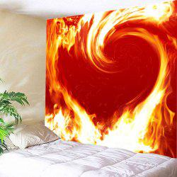Flaming Heart Print Tapestry Valentine's Day Wall Hanging Art -