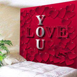 Love You Heart Print Tapestry Valentine's Day Wall Hanging Art -