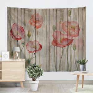 Flowers Woodgrain Print Tapestry Wall Hanging Art Decoration -